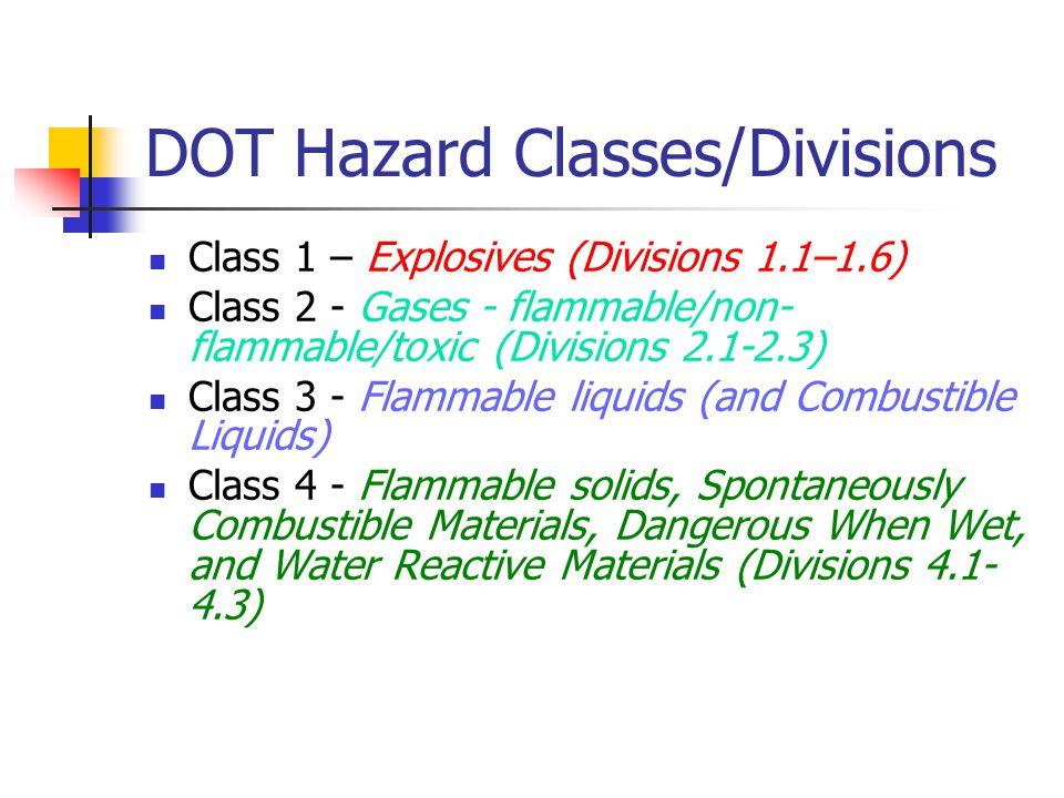 DOT Hazard Classes/Divisions