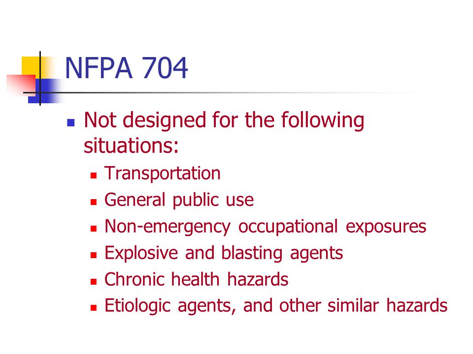 NFPA 704 Not designed for the following situations: Transportation
