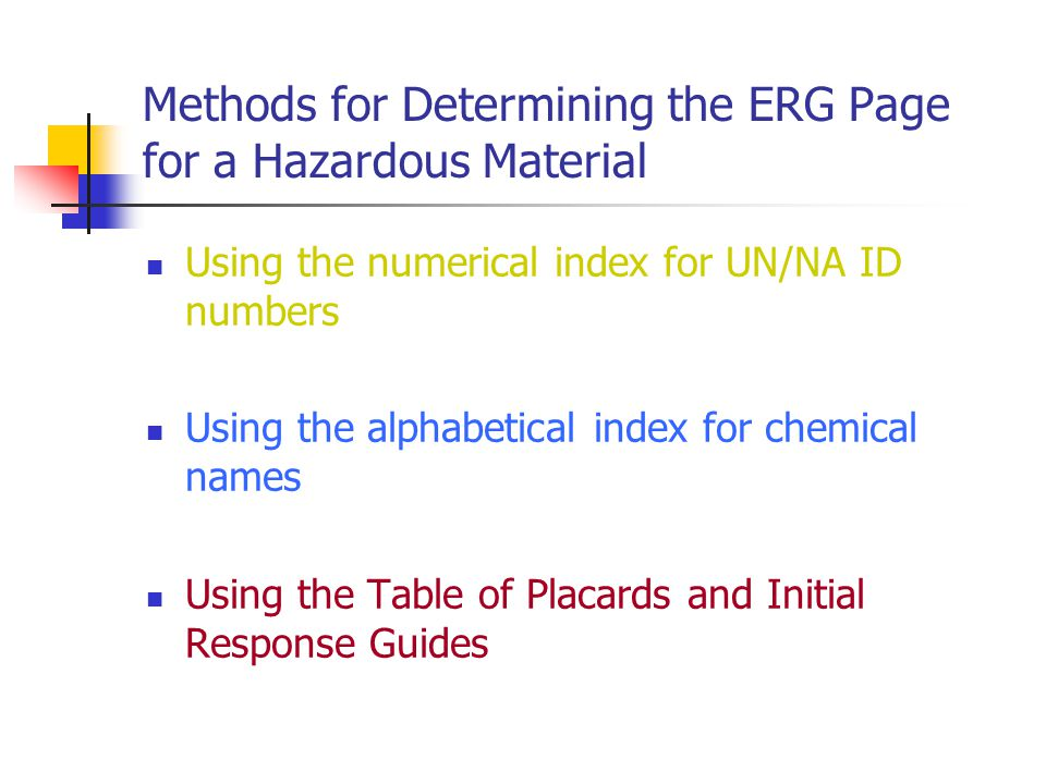 Methods for Determining the ERG Page for a Hazardous Material