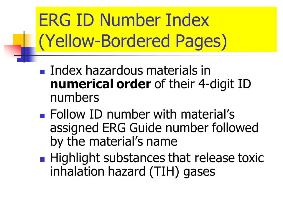 ERG ID Number Index (Yellow-Bordered Pages)