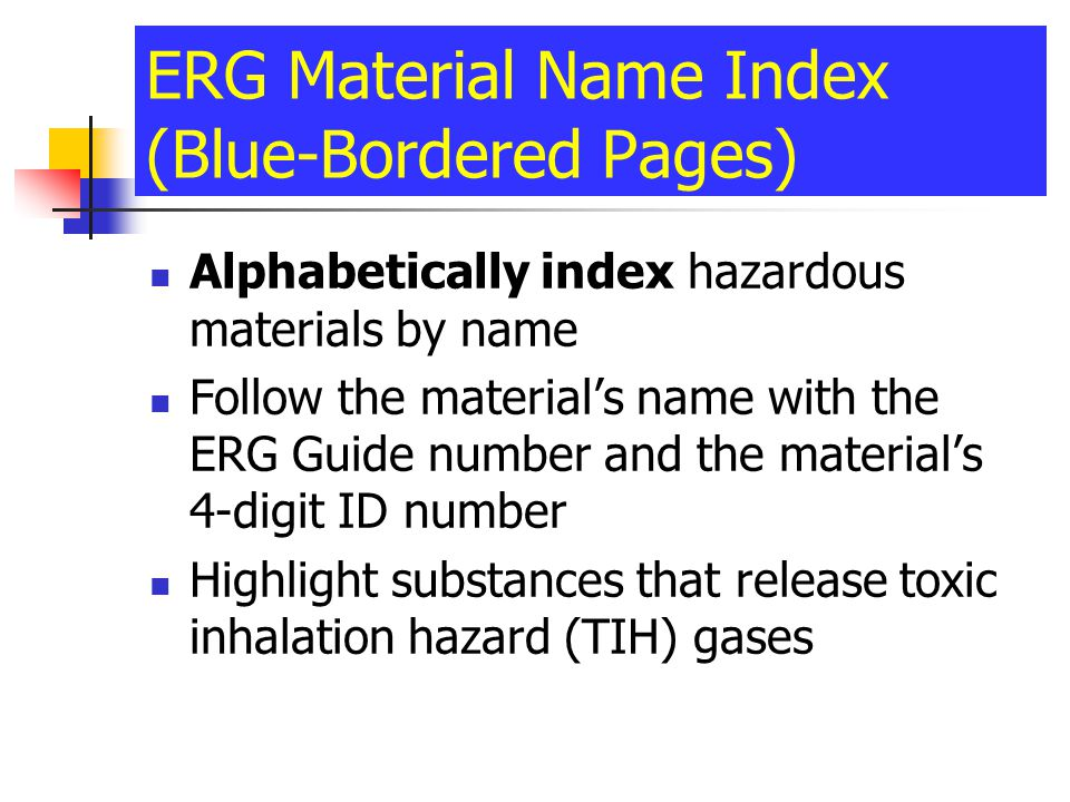 ERG Material Name Index (Blue-Bordered Pages)