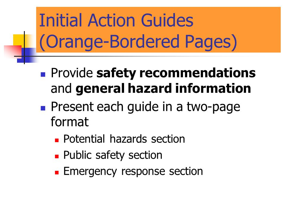 Initial Action Guides (Orange-Bordered Pages)