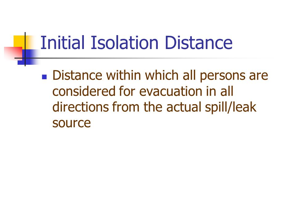 Initial Isolation Distance
