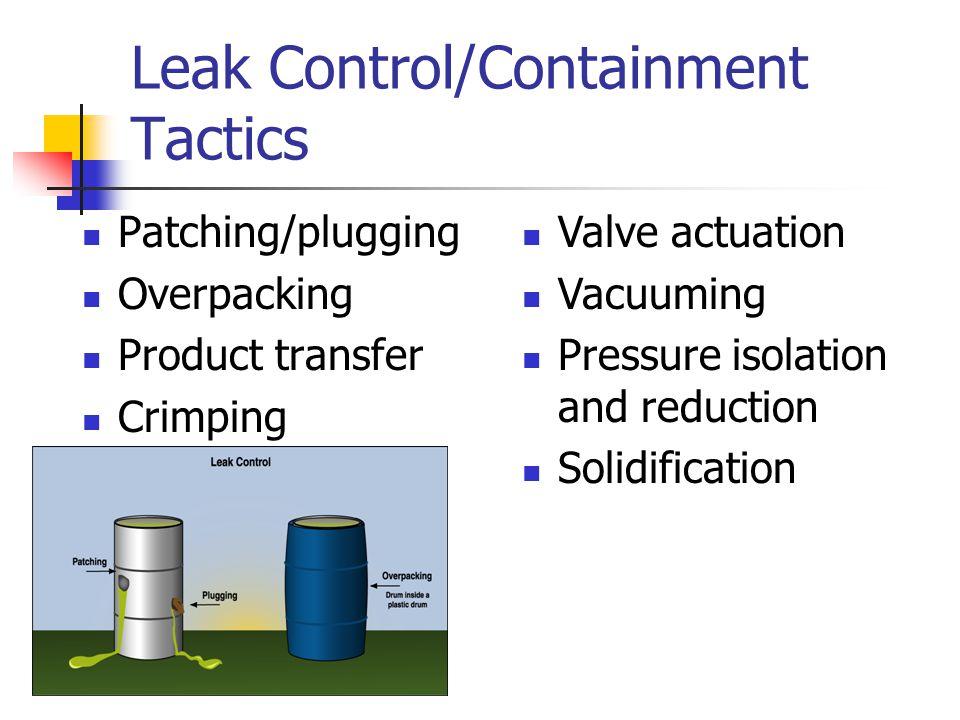 Leak Control/Containment Tactics
