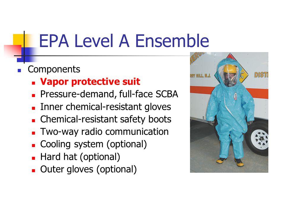 EPA Level A Ensemble Components Vapor protective suit