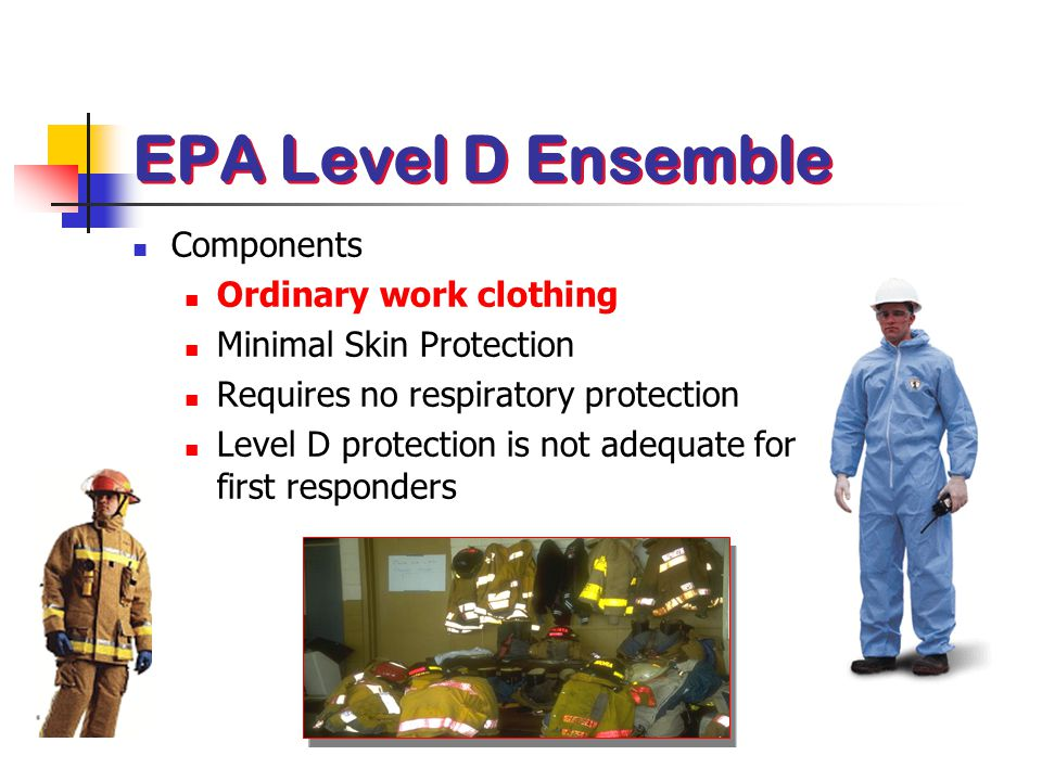 EPA Level D Ensemble Components Ordinary work clothing