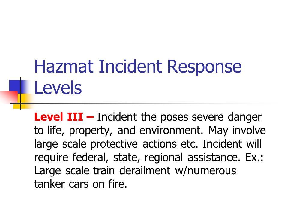 Hazmat Incident Response Levels