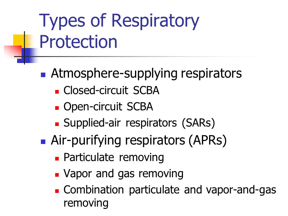Types of Respiratory Protection