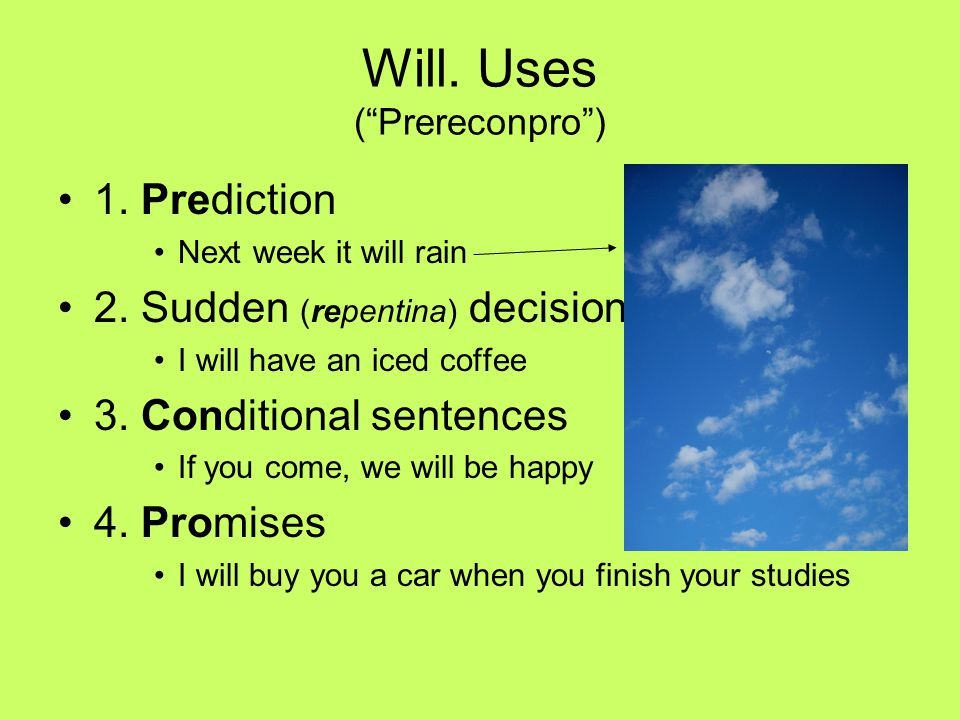 Will. Uses ( Prereconpro )