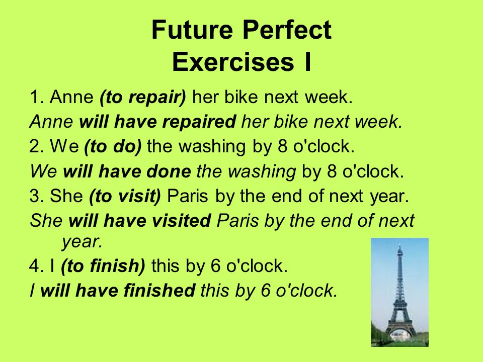 Future Perfect Exercises I