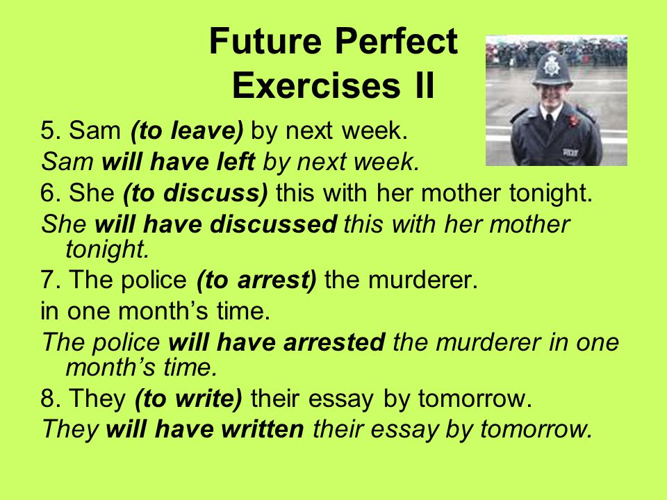 Future Perfect Exercises II