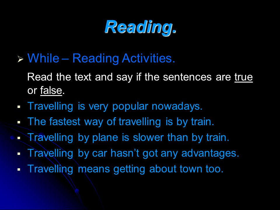 Reading. While – Reading Activities.