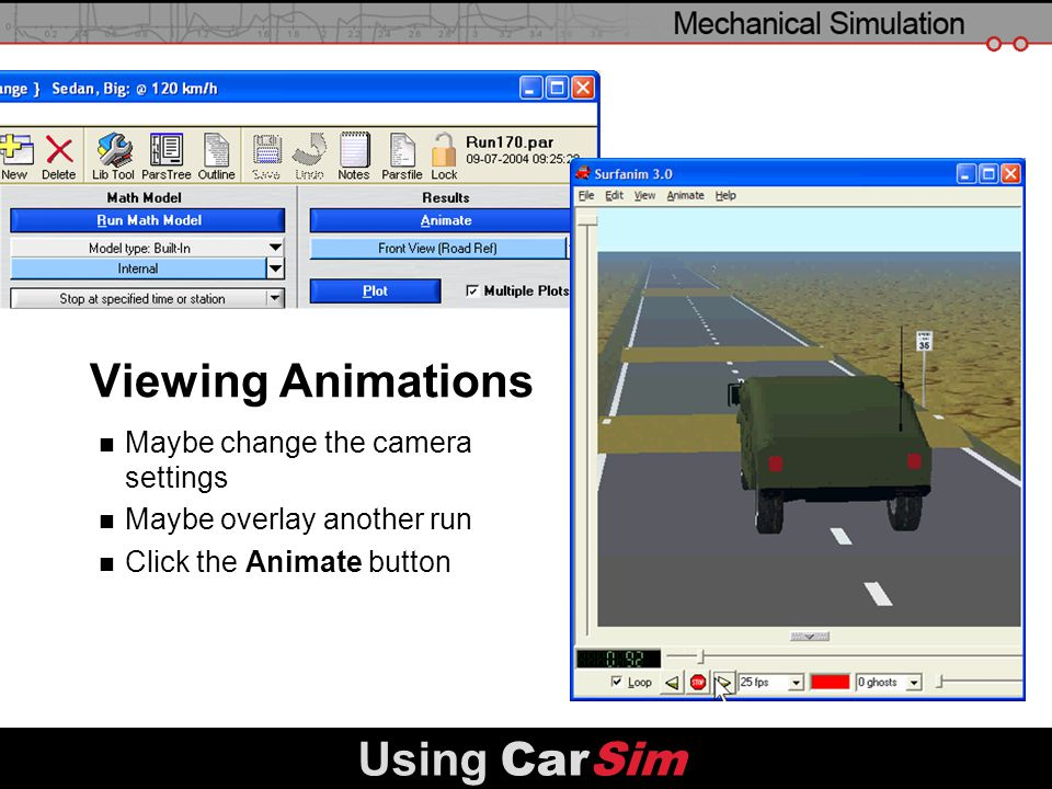 Viewing Animations Using CarSim Maybe change the camera settings