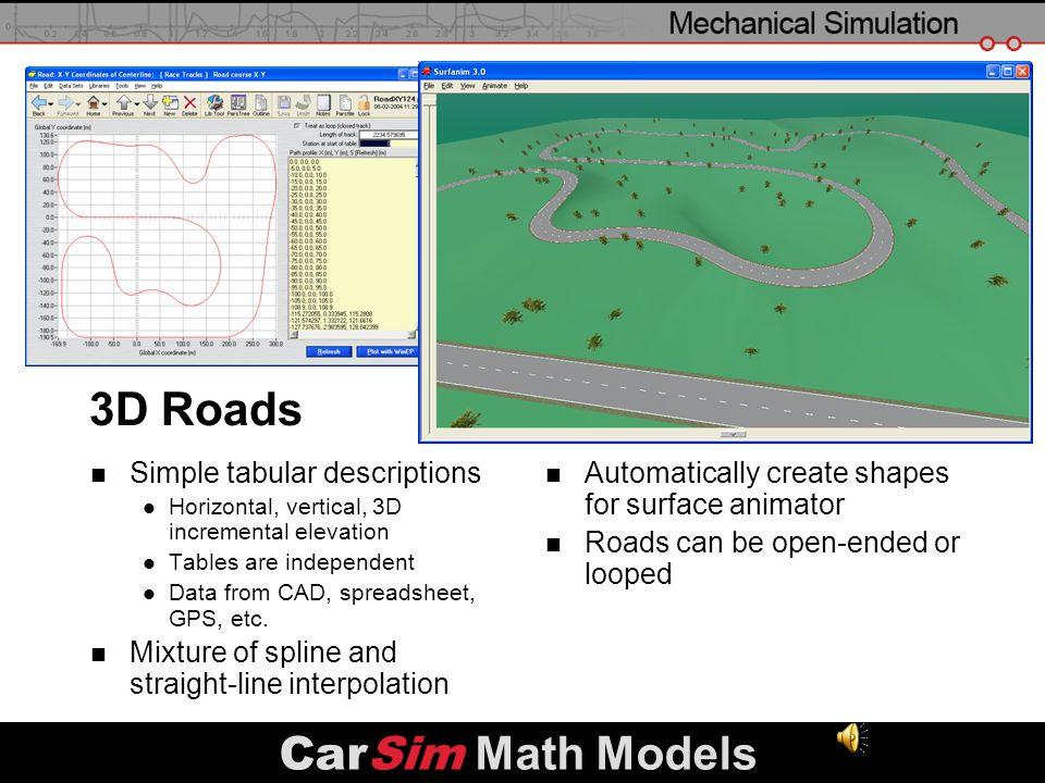 3D Roads CarSim Math Models Simple tabular descriptions