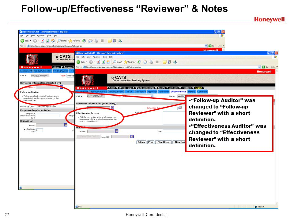 Follow-up/Effectiveness Reviewer & Notes