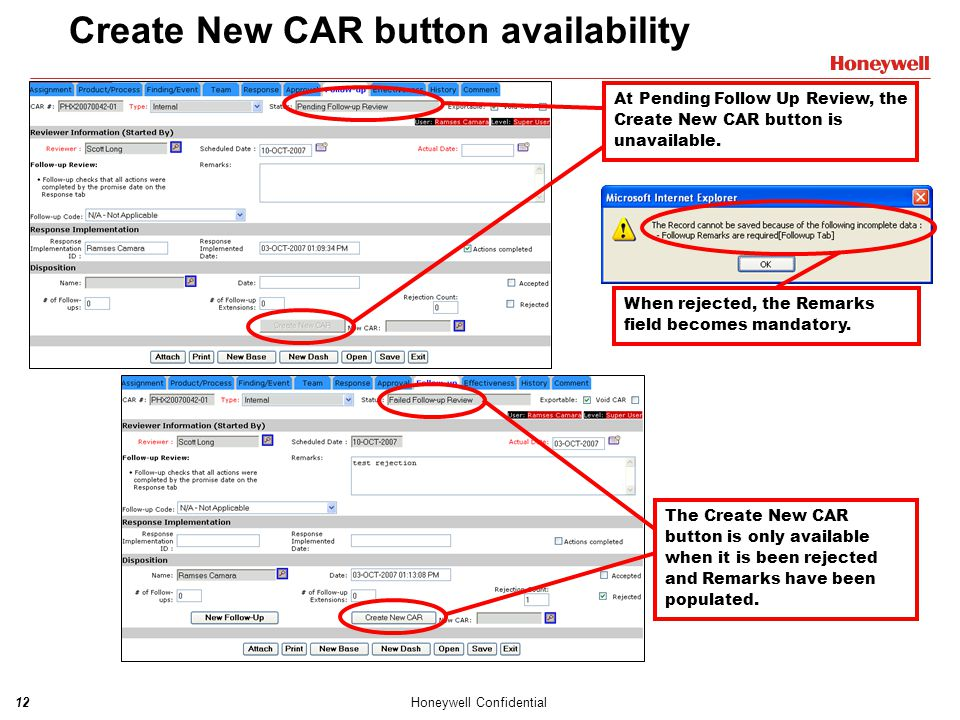 Create New CAR button availability