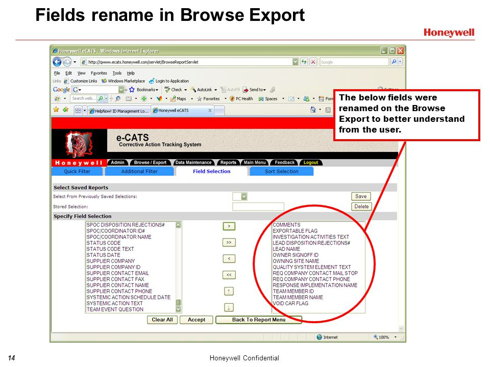 Fields rename in Browse Export