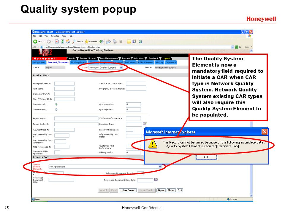 Quality system popup