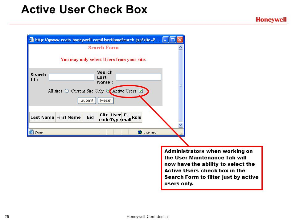 Active User Check Box
