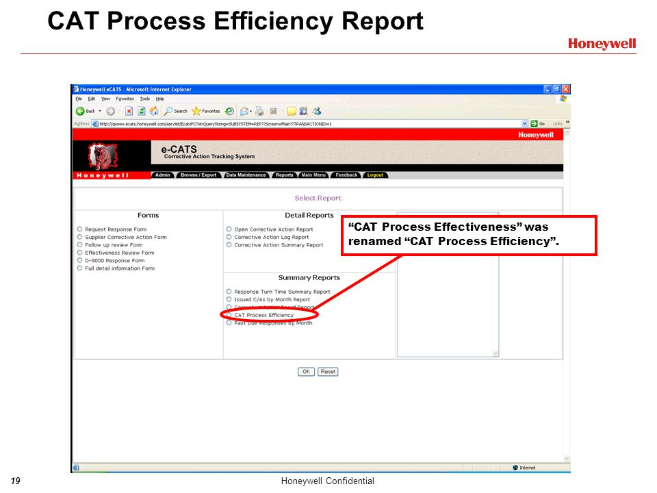 CAT Process Efficiency Report
