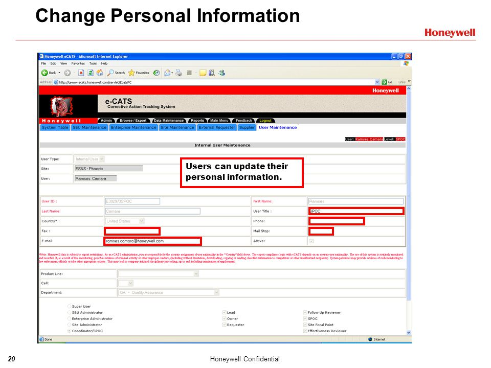 Change Personal Information