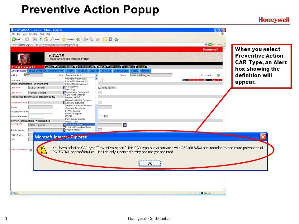 Preventive Action Popup