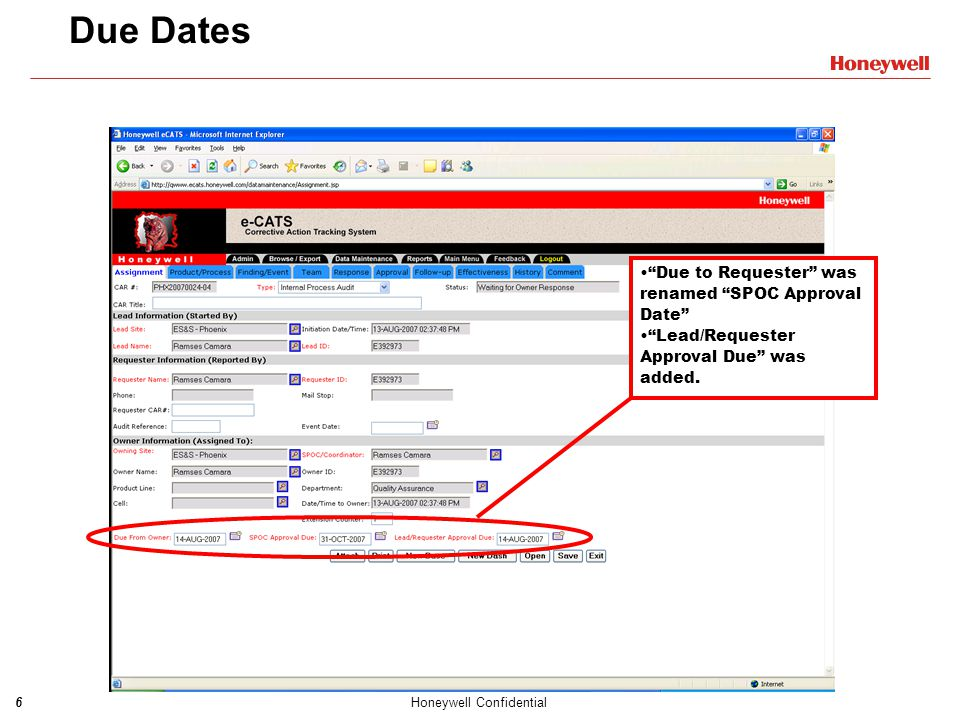 Due Dates Due to Requester was renamed SPOC Approval Date