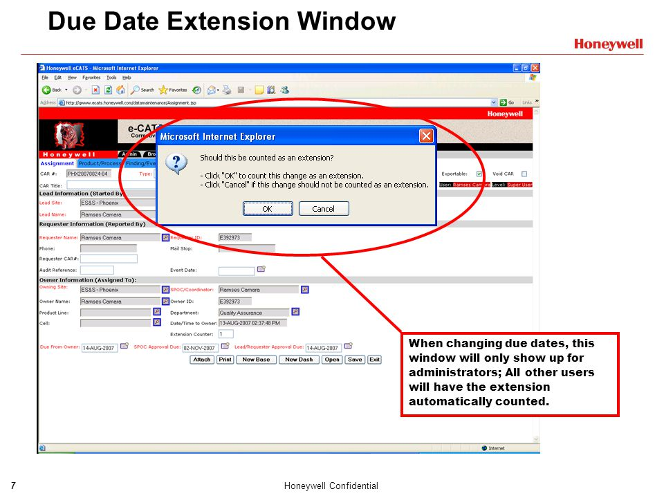 Due Date Extension Window