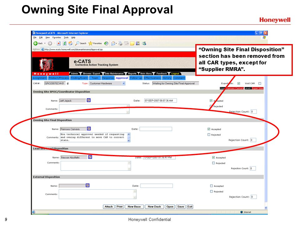 Owning Site Final Approval