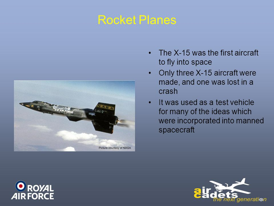 Rocket Planes The X-15 was the first aircraft to fly into space