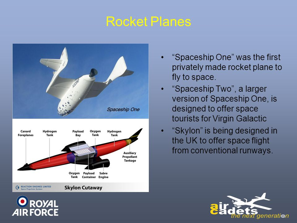 Rocket Planes Spaceship One was the first privately made rocket plane to fly to space.
