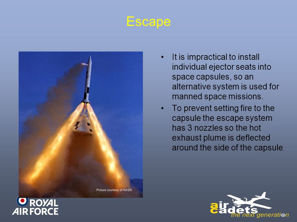 Escape It is impractical to install individual ejector seats into space capsules, so an alternative system is used for manned space missions.