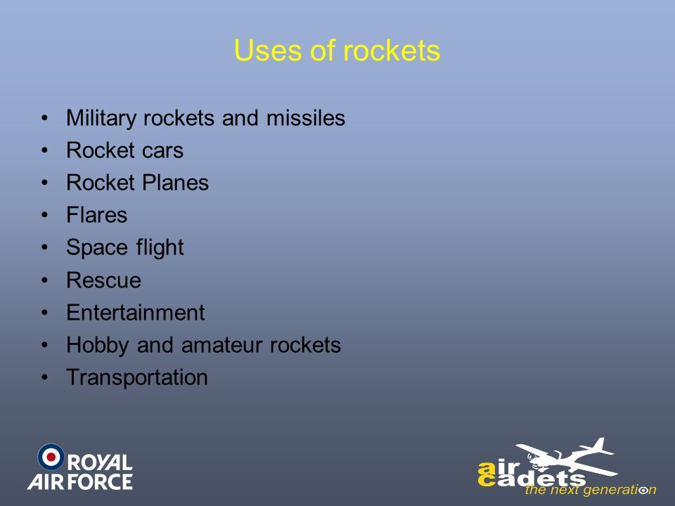 Uses of rockets Military rockets and missiles Rocket cars