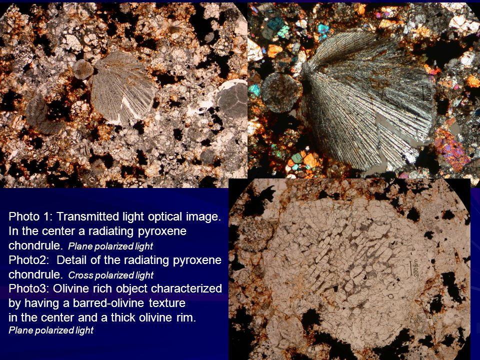 in the center and a thick olivine rim.