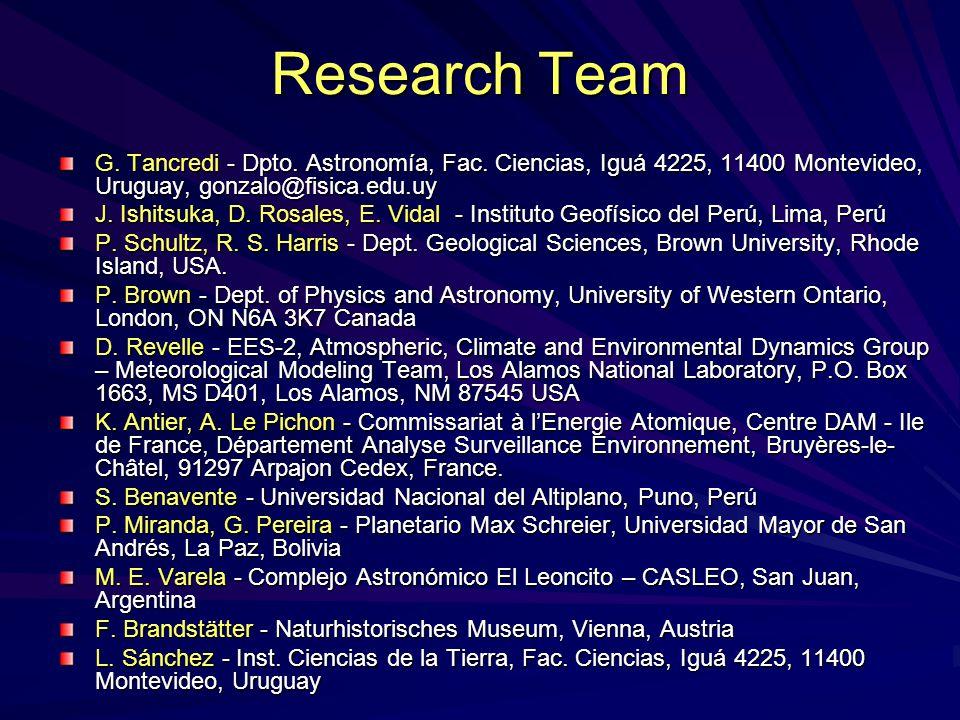 Research Team G. Tancredi - Dpto. Astronomía, Fac. Ciencias, Iguá 4225, 11400 Montevideo, Uruguay, gonzalo@fisica.edu.uy.