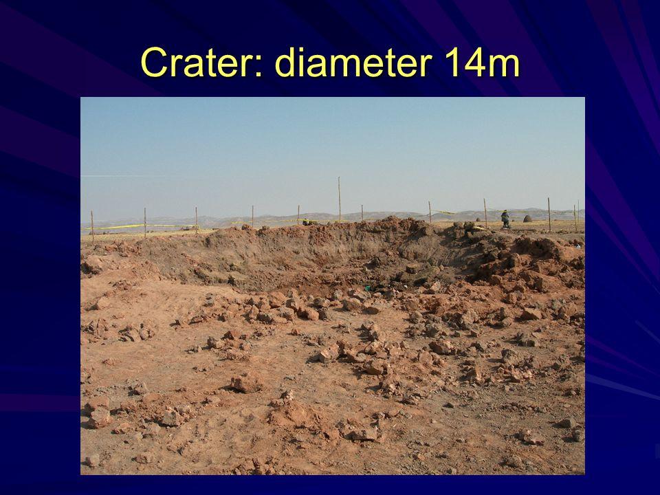 Crater: diameter 14m