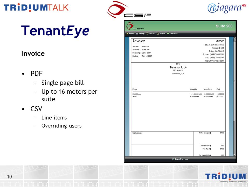 TenantEye Invoice PDF CSV Single page bill Up to 16 meters per suite