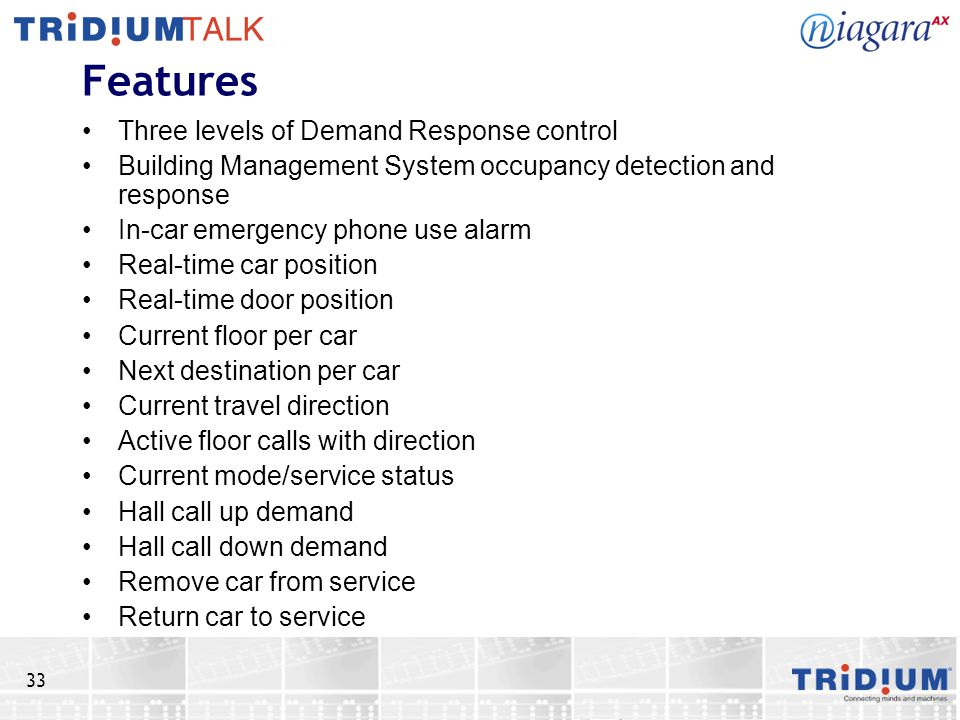 Features Three levels of Demand Response control