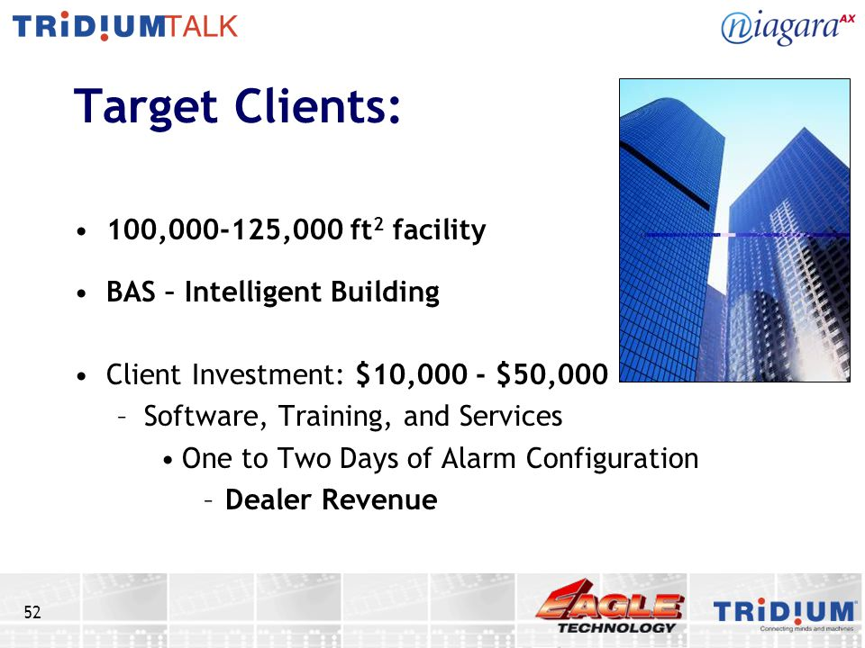 Target Clients: 100,000-125,000 ft2 facility