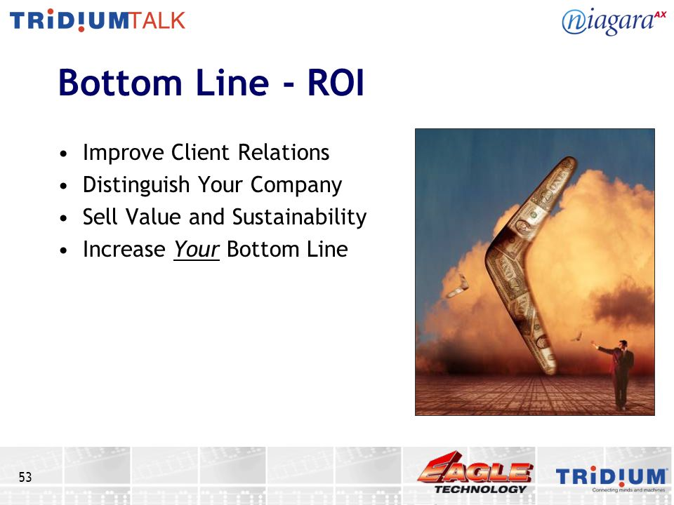 Bottom Line - ROI Improve Client Relations Distinguish Your Company