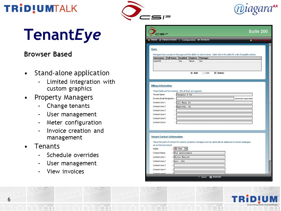 TenantEye Browser Based Stand-alone application Property Managers