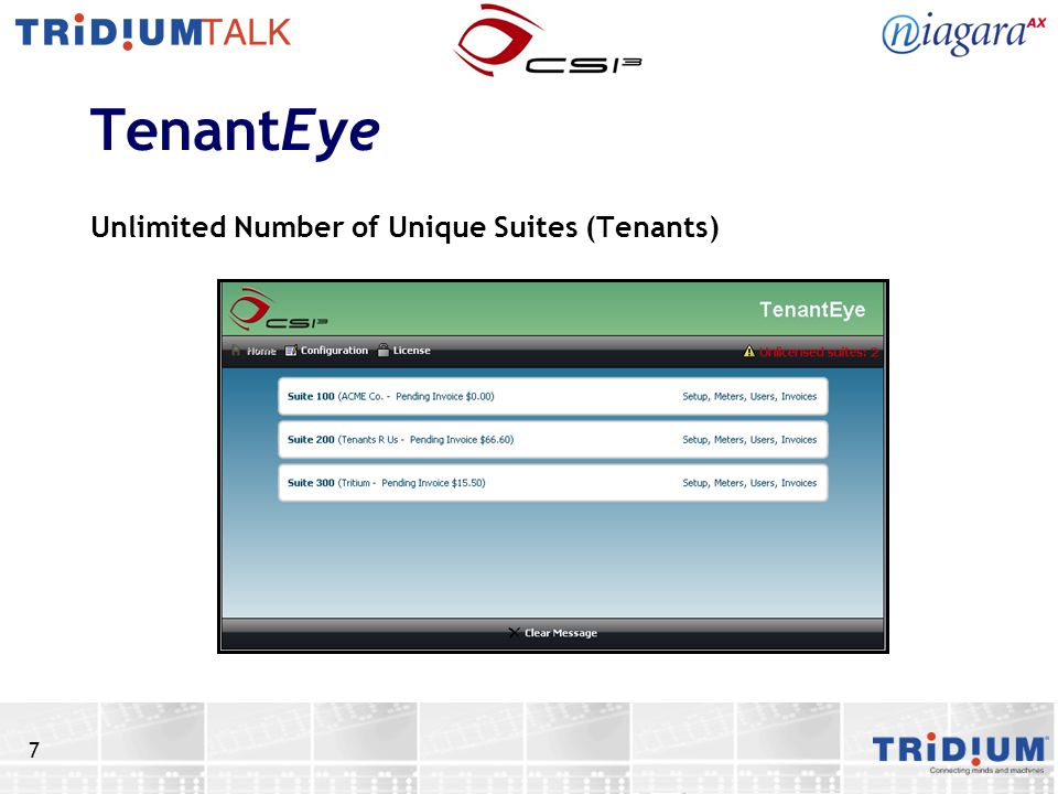 TenantEye Unlimited Number of Unique Suites (Tenants)