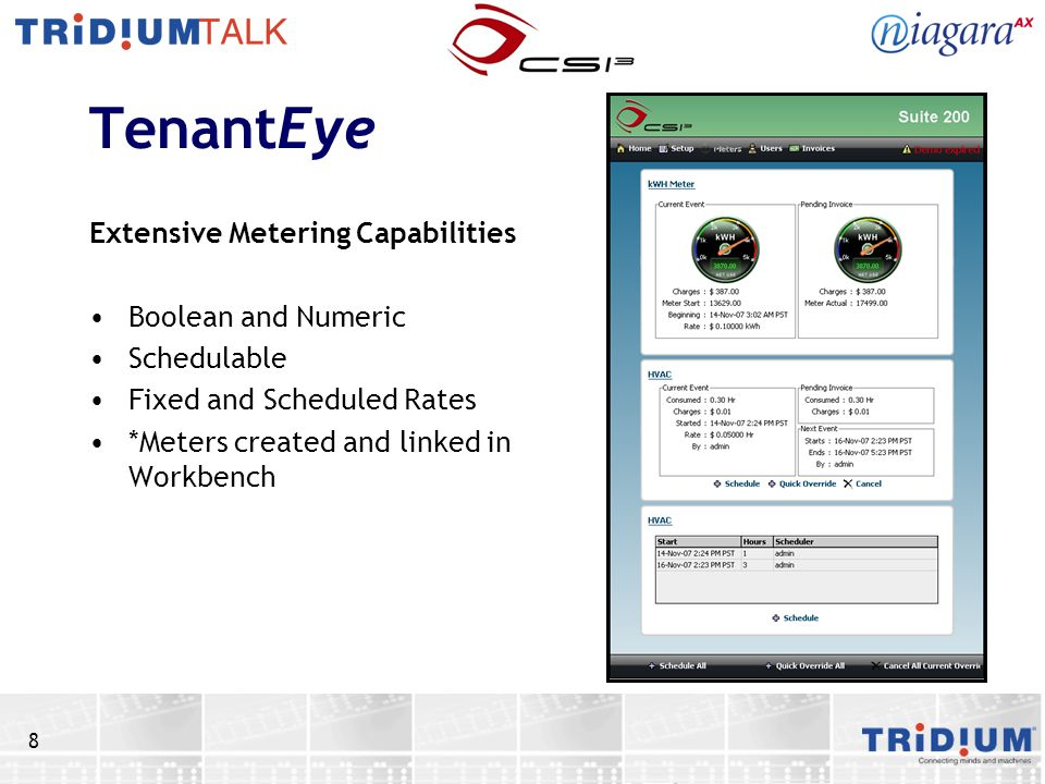 TenantEye Extensive Metering Capabilities Boolean and Numeric