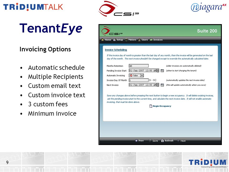 TenantEye Invoicing Options Automatic schedule Multiple Recipients