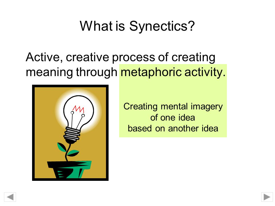 Creating mental imagery of one idea based on another idea