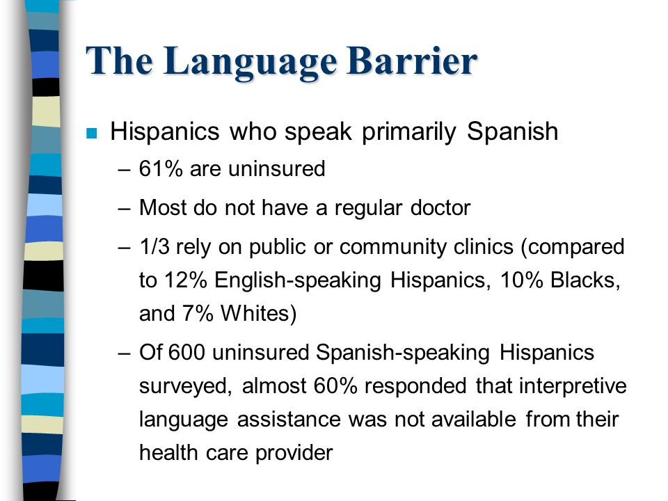 The Language Barrier Hispanics who speak primarily Spanish
