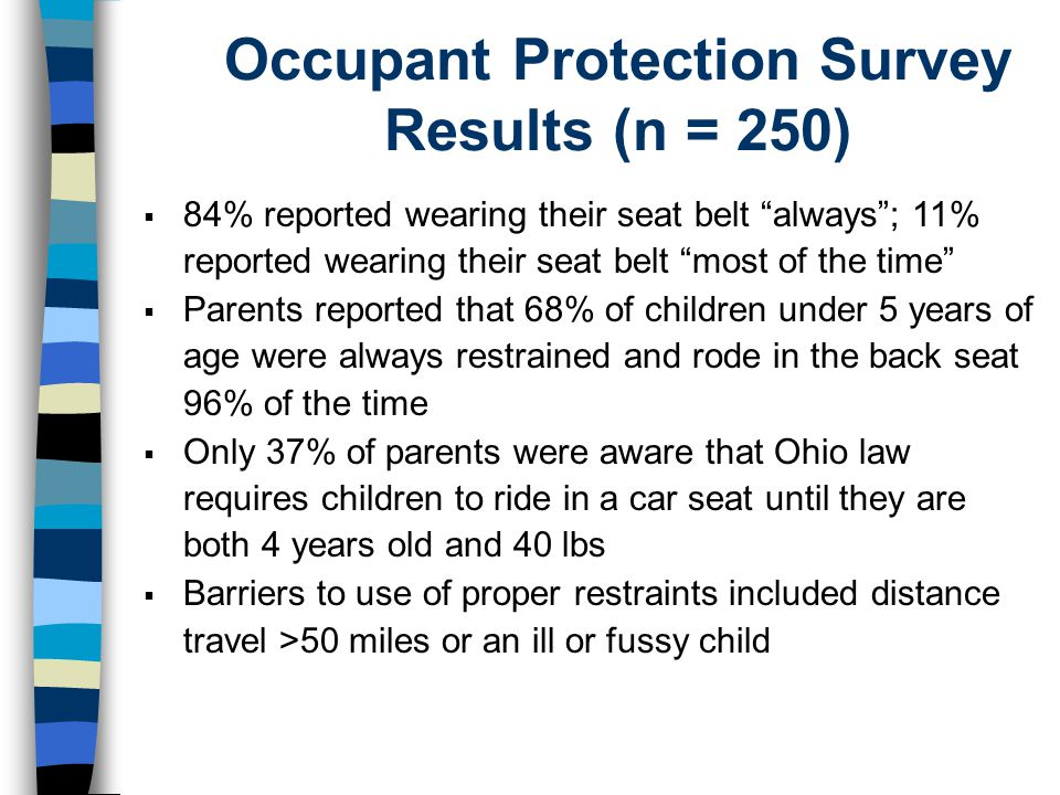 Occupant Protection Survey Results (n = 250)