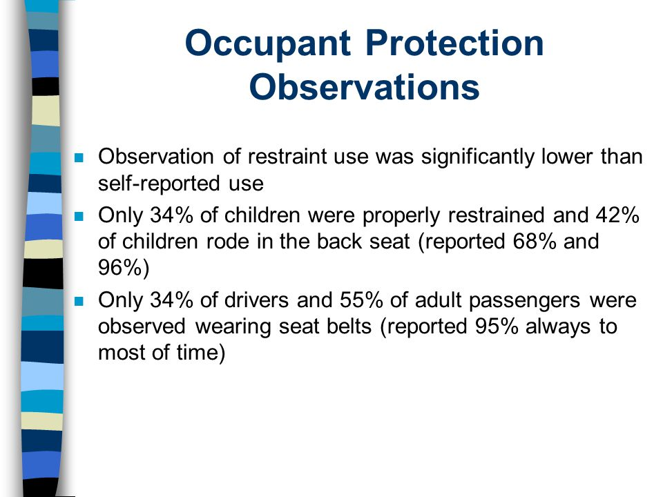 Occupant Protection Observations