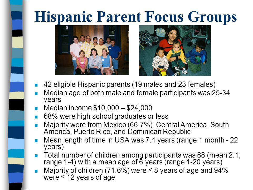 Hispanic Parent Focus Groups