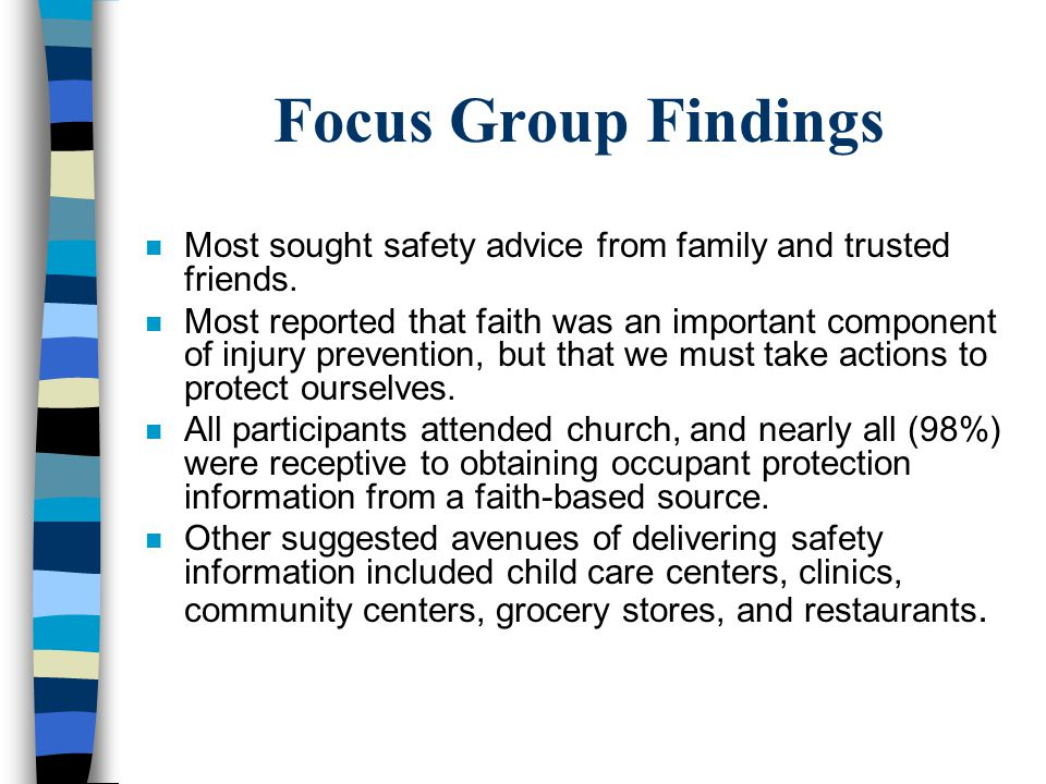 Focus Group Findings Most sought safety advice from family and trusted friends.